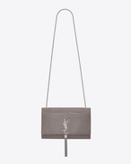 classic medium kate tassel satchel in fog crocodile embossed shiny leather