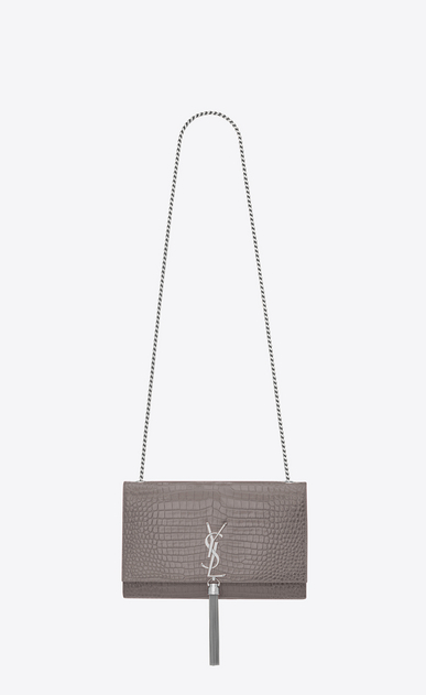 SAINT LAURENT MONOGRAM KATE WITH TASSEL D medium kate tassel chain bag in fog crocodile embossed shiny leather a_V4