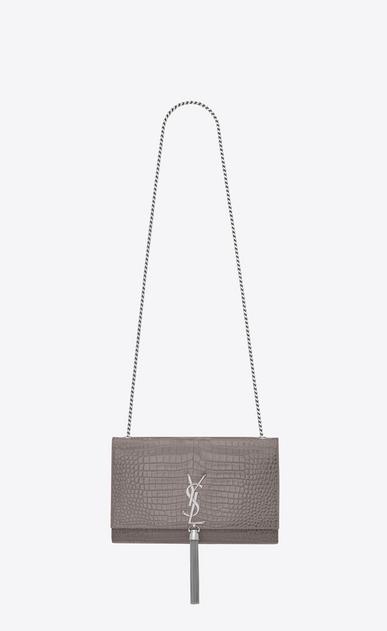 SAINT LAURENT MONOGRAM KATE WITH TASSEL D medium kate tassel chain bag in fog crocodile embossed shiny leather v4