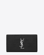 SAINT LAURENT Monogram D Grand portefeuille à rabat MONOGRAMME SAINT LAURENT en cuir noir brillant embossé façon crocodile f