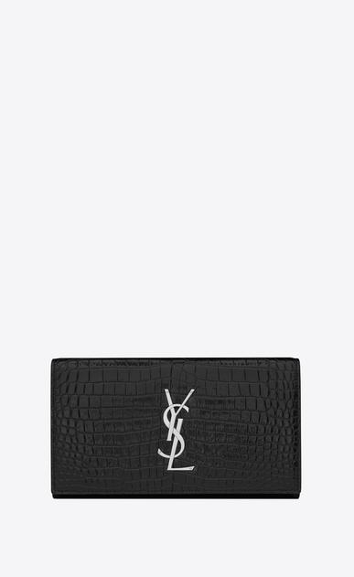 SAINT LAURENT Monogram D large monogram flap wallet in black crocodile embossed shiny leather a_V4