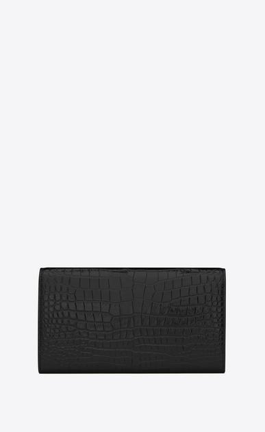 SAINT LAURENT Monogram D large monogram flap wallet in black crocodile embossed shiny leather b_V4