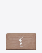 SAINT LAURENT Monogram D grand portefeuille à rabat monogramme saint laurent en cuir brillant embossé façon crocodile vieux rose f
