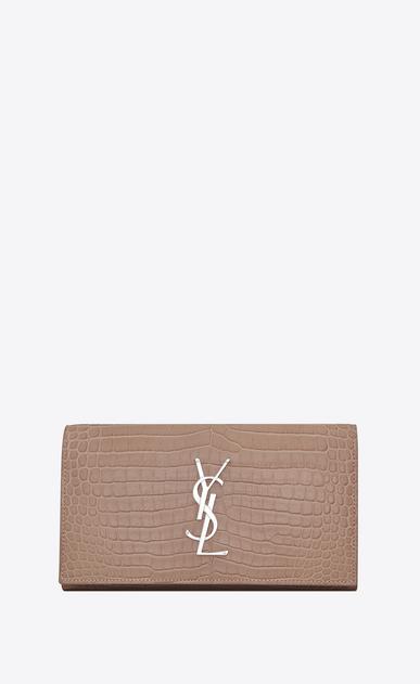 SAINT LAURENT Monogram D large monogram flap wallet in antique rose crocodile embossed shiny leather v4