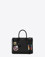 SAINT LAURENT Baby Sac de Jour D Classic Baby SAC DE JOUR Multi-Patch Bag in Black Leather f