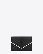 SAINT LAURENT Monogram Matelassé D Small MONOGRAM SAINT LAURENT Envelope Wallet in Black and Dove White Grain de Poudre Textured Matelassé Leather f