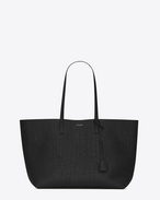 Large SHOPPING SAINT LAURENT Tote Bag in Black Crocodile Embossed Leather