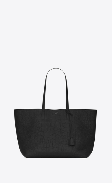 SAINT LAURENT Shopper Saint Laurent E/W D Shopping Bag aus schwarzem Leder mit Krokodillederprägung  a_V4