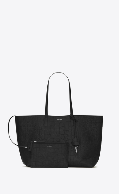 SAINT LAURENT Shopper Saint Laurent E/W D Shopping Bag aus schwarzem Leder mit Krokodillederprägung  b_V4