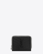 SAINT LAURENT Monogram Matelassé D monogram compact zip around wallet in black and dove white grain de poudre textured matelassé leather f