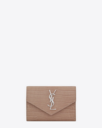 SAINT LAURENT Monogram D small monogram envelope wallet in antique rose crocodile embossed shiny leather f