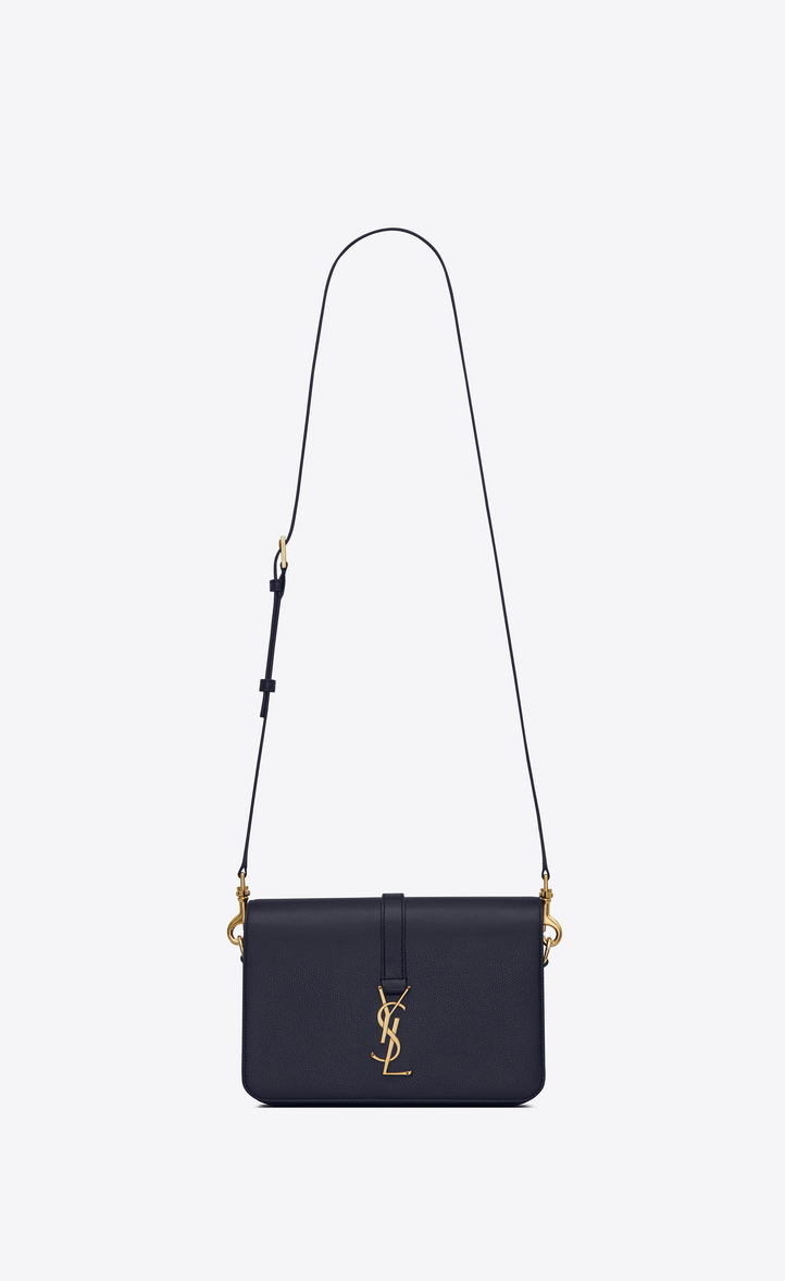 Saint Laurent Classic Medium Université Bag In Navy Blue Grained ... 3a36271f037cd