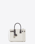 SAINT LAURENT Baby Sac de Jour D Classic Baby SAC DE JOUR Bag in Dove White Grained Leather and Black, Ivory and Silver Python Skin f