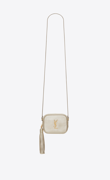 SAINT LAURENT Camera bag D monogram blogger bag in pale gold grained metallic leather a_V4