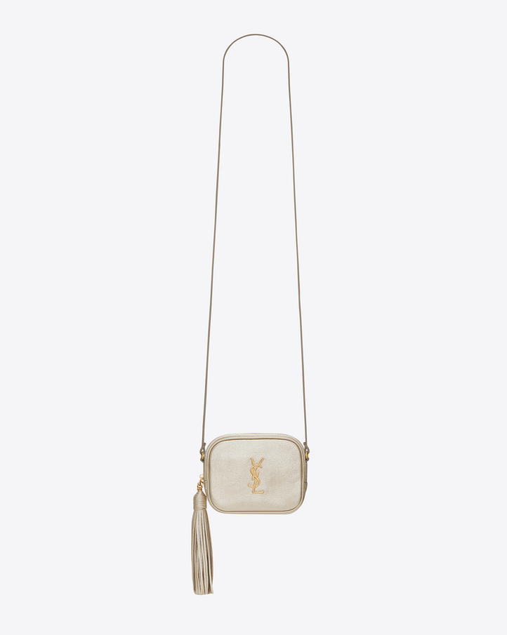 saint laurent monogram blogger bag in pale gold grained metallic leather