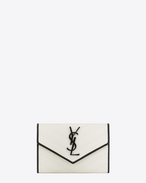 SAINT LAURENT Monogram Matelassé D Portafogli Small MONOGRAM SAINT LAURENT Envelope bianco porcellana e nero in pelle matelassé a texture grain de poudre f