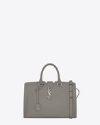 SAINT LAURENT Monogram Cabas D Small MONOGRAM SAINT LAURENT CABAS Bag grigio perla in pelle f