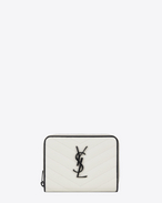SAINT LAURENT Monogram Matelassé D MONOGRAM SAINT LAURENT Compact Zip Around Wallet in Dove White and Black Grain de Poudre Textured Matelassé Leather f