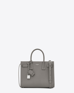 SAINT LAURENT Baby Sac de Jour D Classic Baby SAC DE JOUR Bag in Pearl Grey Grained Leather f