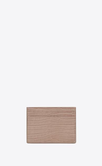 SAINT LAURENT Monogram Woman credit card case in antique rose crocodile embossed shiny leather b_V4