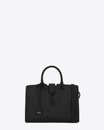 SAINT LAURENT Monogram Cabas D small monogram cabas bag in black and dove white leather f