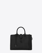 SAINT LAURENT Monogram Cabas D petit sac cabas monogramme en cuir noir et blanc grisé f