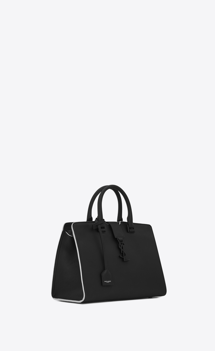 1654640f1c69 Saint Laurent Small Cabas Ysl Bag In Black And Dove White Leather ...