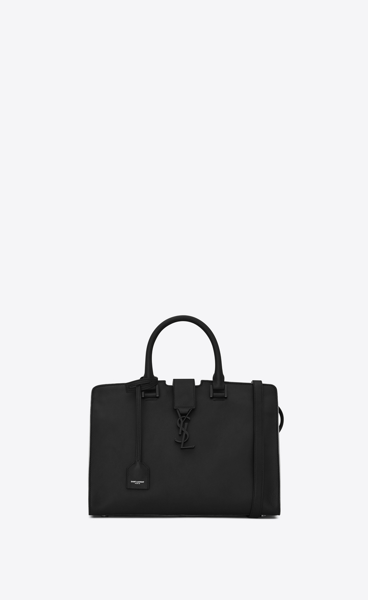 39671efbf88a Saint Laurent Small Cabas Ysl Bag In Black And Dove White Leather ...