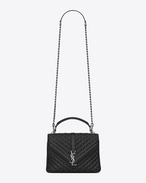 SAINT LAURENT Monogram College D classic medium monogram saint laurent collège studded bag in black matelassé leather and brushed silver-toned metal f