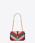 SAINT LAURENT Monogram envelope Bag D Classic Medium MONOGRAM SAINT LAURENT Satchel in Multicolor Matelassé Metallic Leather and Black Leather f