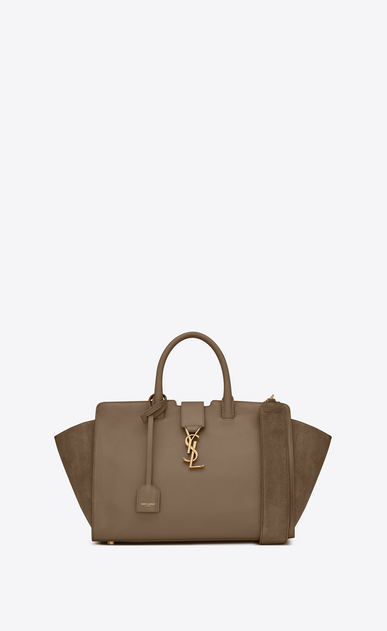 SAINT LAURENT MONOGRAMME TOTE Woman small downtown cabas bag in taupe leather and suede a_V4