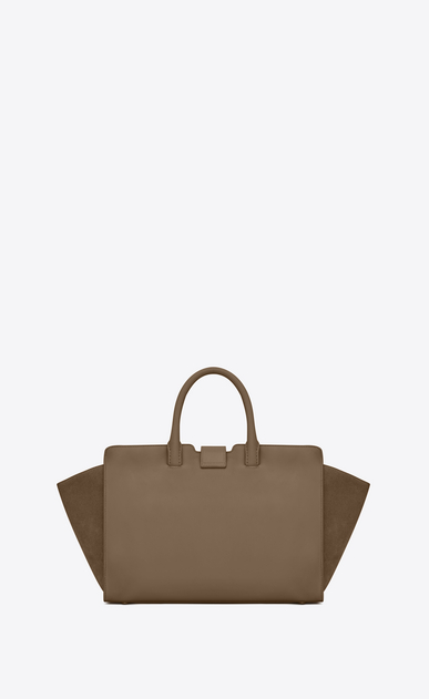 SAINT LAURENT MONOGRAMME TOTE Woman small downtown cabas bag in taupe leather and suede b_V4