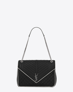 SAINT LAURENT Monogram envelope Bag D classic large soft envelope monogram saint laurent in black and dove white mixed matelassé leather f