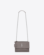 SAINT LAURENT Sunset D sac medium sunset en cuir brillant embossé façon crocodile gris brouillard f