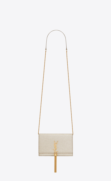 SAINT LAURENT Mini bags Kate D classic kate tassel chain wallet in pale gold grained metallic leather a_V4