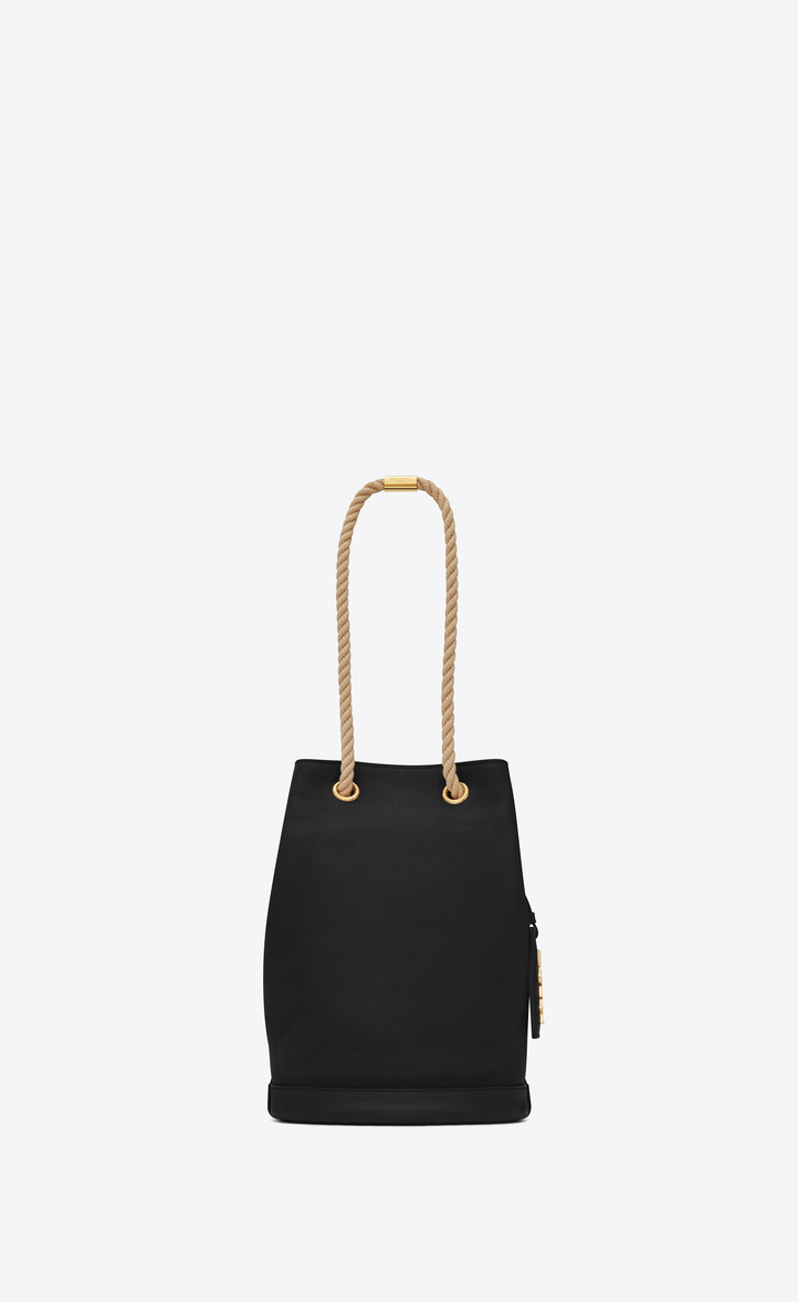 Small SEAU SAINT LAURENT Bucket Bag in Black Grained Leather and Beige  Rope, Front view d03d3b1476