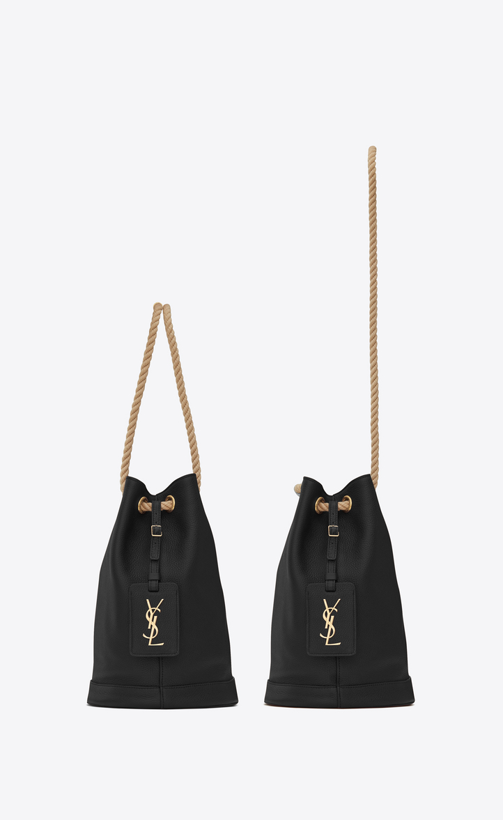Zoom  Small SEAU SAINT LAURENT Bucket Bag in Black Grained Leather and  Beige Rope, Alternative View 30404c9cb8