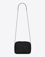 "classic small loulou bowling bag in black ""y"" matelassé leather"