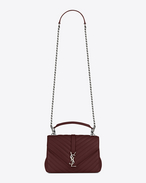 SAINT LAURENT Monogram College D classic medium collège bag in dark red matelassé leather f