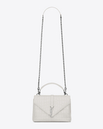 SAINT LAURENT Monogram College D Classic Medium MONOGRAM SAINT LAURENT COLLÈGE bianco porcellana in coccodrillo stampato f