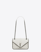 SAINT LAURENT Monogram envelope Bag D Classic Medium MONOGRAM SAINT LAURENT Satchel in Dove White and Black Mixed Matelassé Leather f