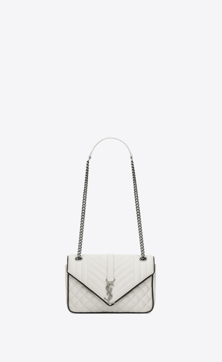 26e3f24b63 classic medium soft envelope in dove white and black mixed matelassé leather