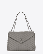 "SAINT LAURENT MONOGRAMME SLOUCHY D Classic Large MONOGRAM SAINT LAURENT Envelope Satchel in Pearl Grey ""Y"" Matelassé Leather f"