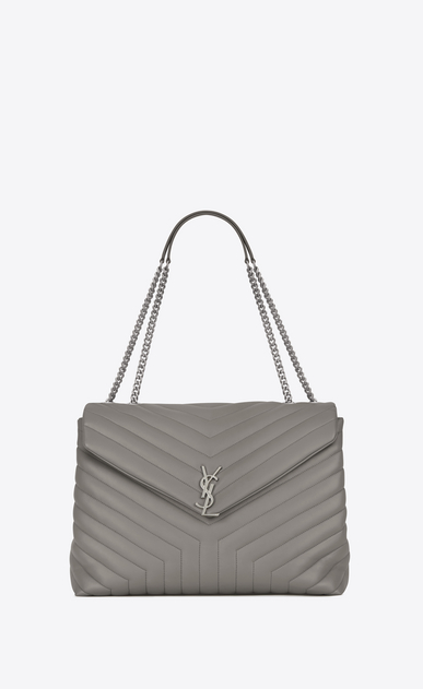 "SAINT LAURENT Monogramme Loulou D large loulou chain bag in pearl grey ""y"" matelassé leather a_V4"