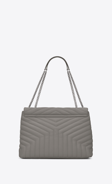 "SAINT LAURENT Monogramme Loulou D large loulou chain bag in pearl grey ""y"" matelassé leather b_V4"