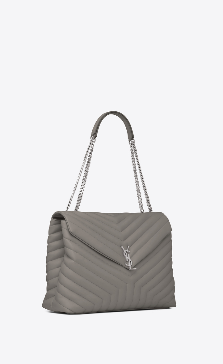 f4835c24881af Saint Laurent Large Loulou Chain Bag In Pearl Grey