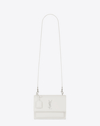 SAINT LAURENT Sunset D medium sunset satchel in dove white grained leather f
