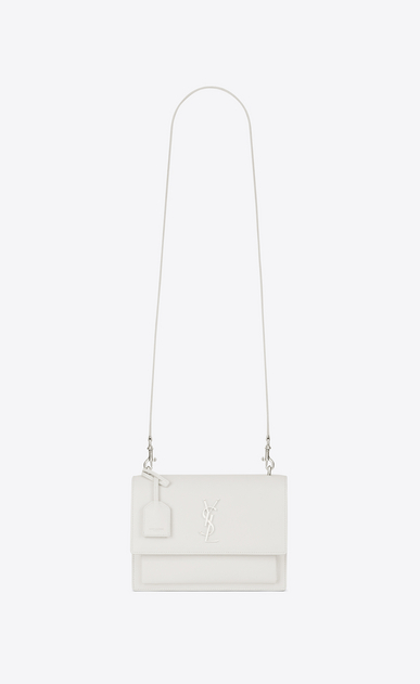 SAINT LAURENT Sunset D medium sunset satchel in dove white grained leather a_V4