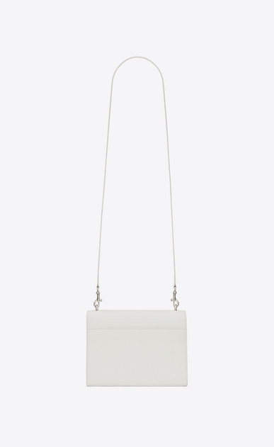 SAINT LAURENT Sunset D medium sunset satchel in dove white grained leather b_V4