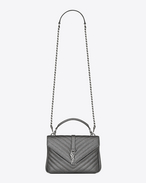 SAINT LAURENT Monogram College D classic medium monogram saint laurent collège bag in gun metal grain de poudre textured matelassé metallic leather f